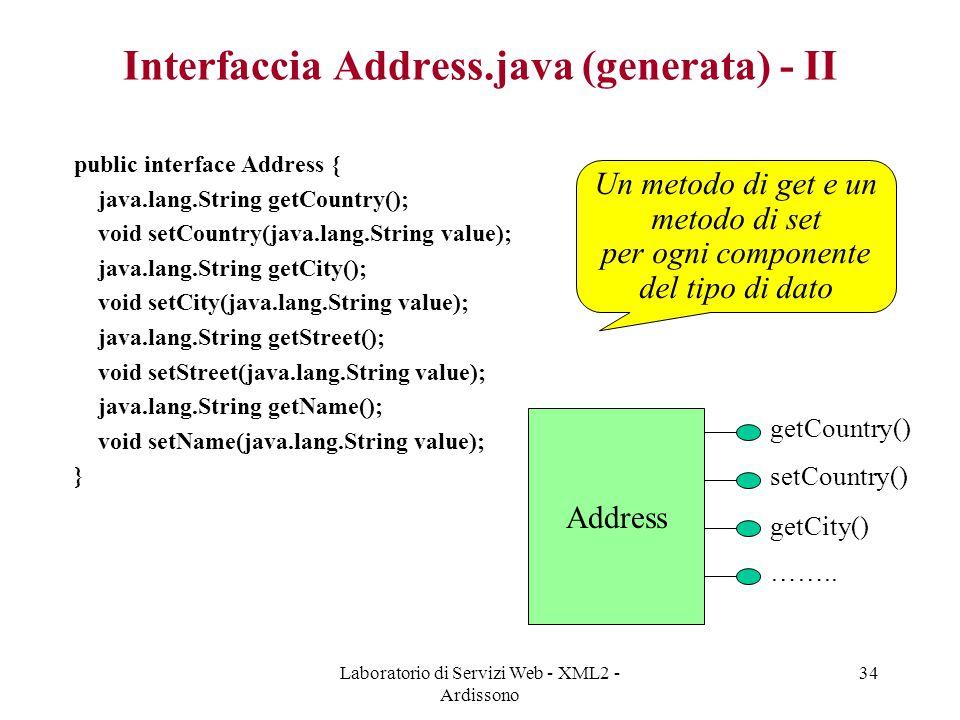 Interfaccia Address.java (generata) - II