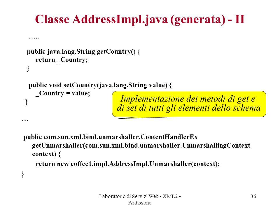 Classe AddressImpl.java (generata) - II