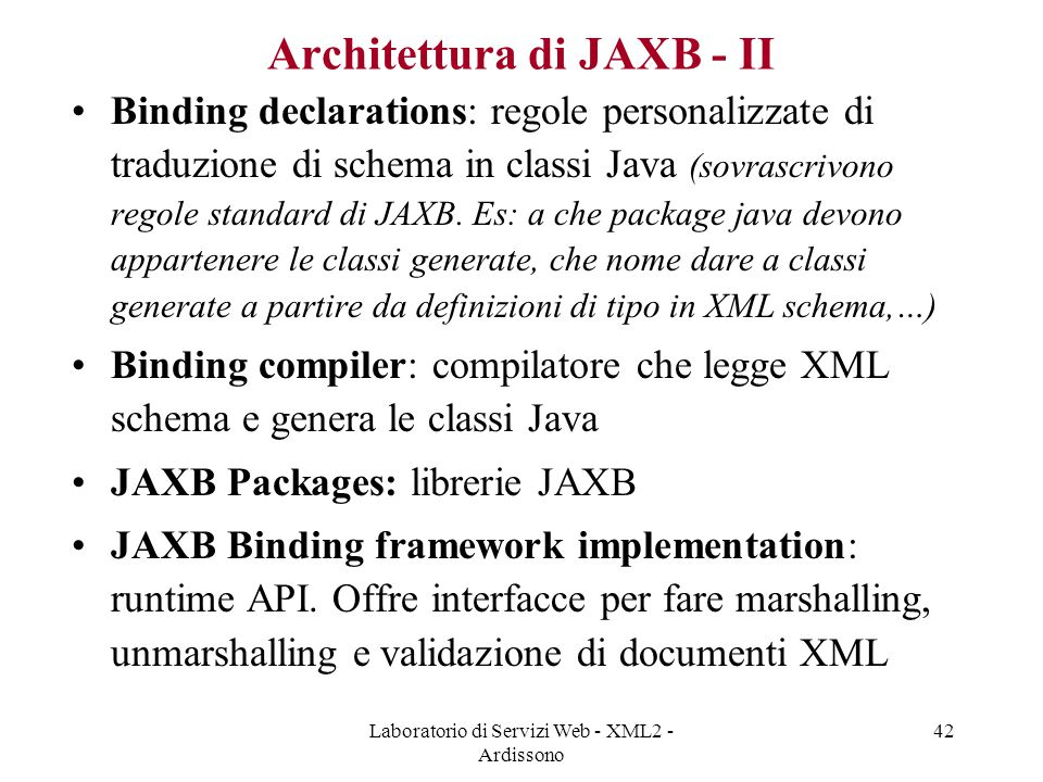 Architettura di JAXB - II