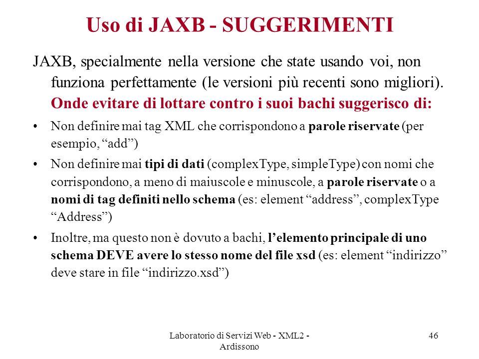 Uso di JAXB - SUGGERIMENTI
