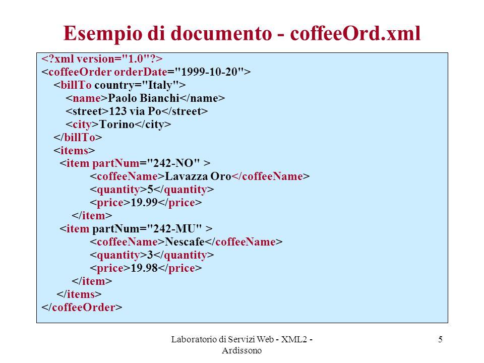 Esempio di documento - coffeeOrd.xml