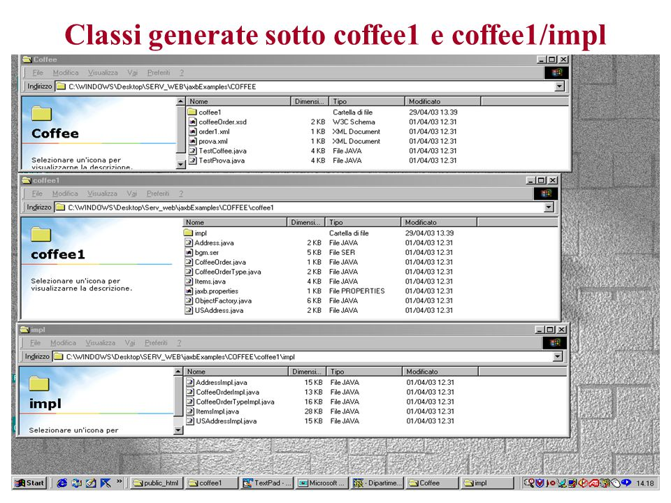 Classi generate sotto coffee1 e coffee1/impl