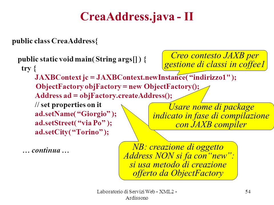 CreaAddress.java - II Creo contesto JAXB per