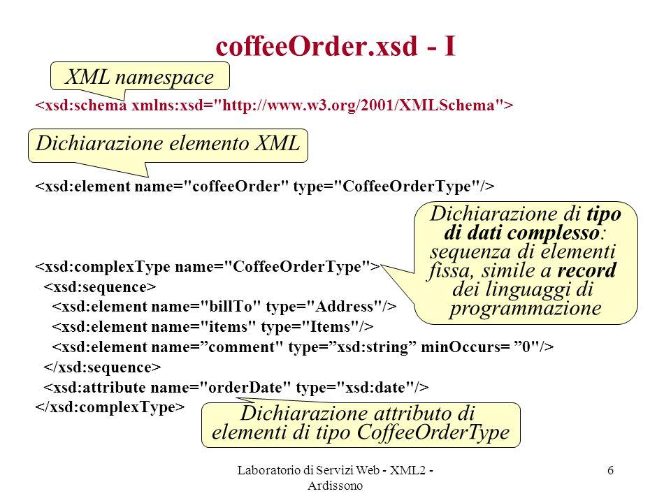 coffeeOrder.xsd - I XML namespace Dichiarazione elemento XML