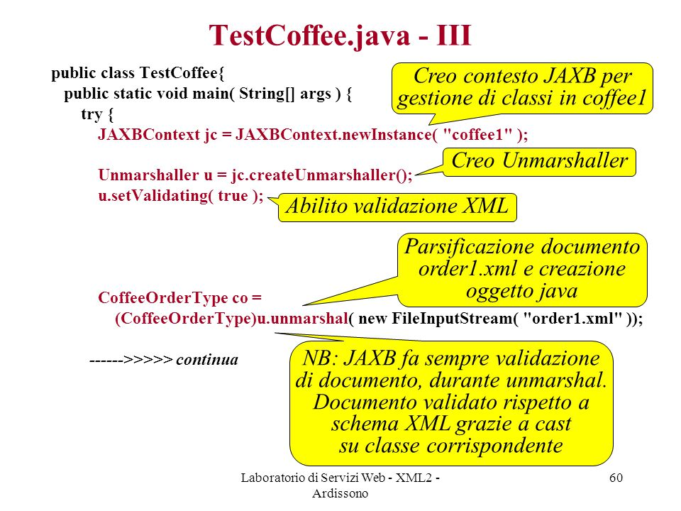 TestCoffee.java - III Creo contesto JAXB per