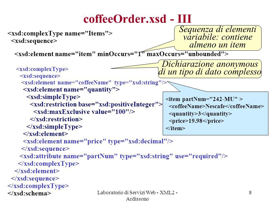 coffeeOrder.xsd - III Sequenza di elementi variabile: contiene