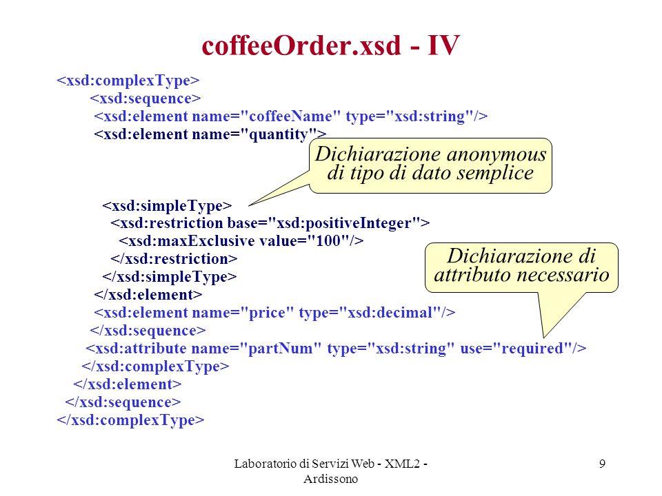 coffeeOrder.xsd - IV Dichiarazione anonymous di tipo di dato semplice