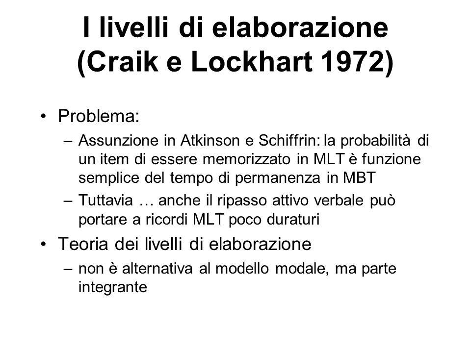 I livelli di elaborazione (Craik e Lockhart 1972)