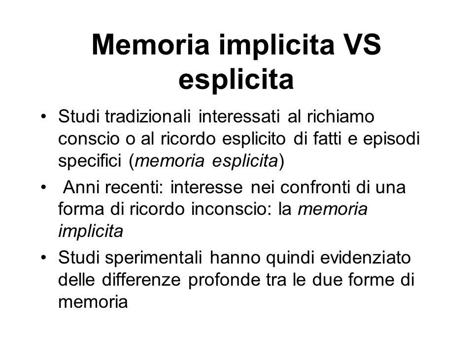 Memoria implicita VS esplicita