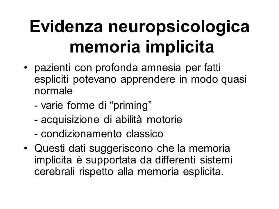 Evidenza neuropsicologica memoria implicita