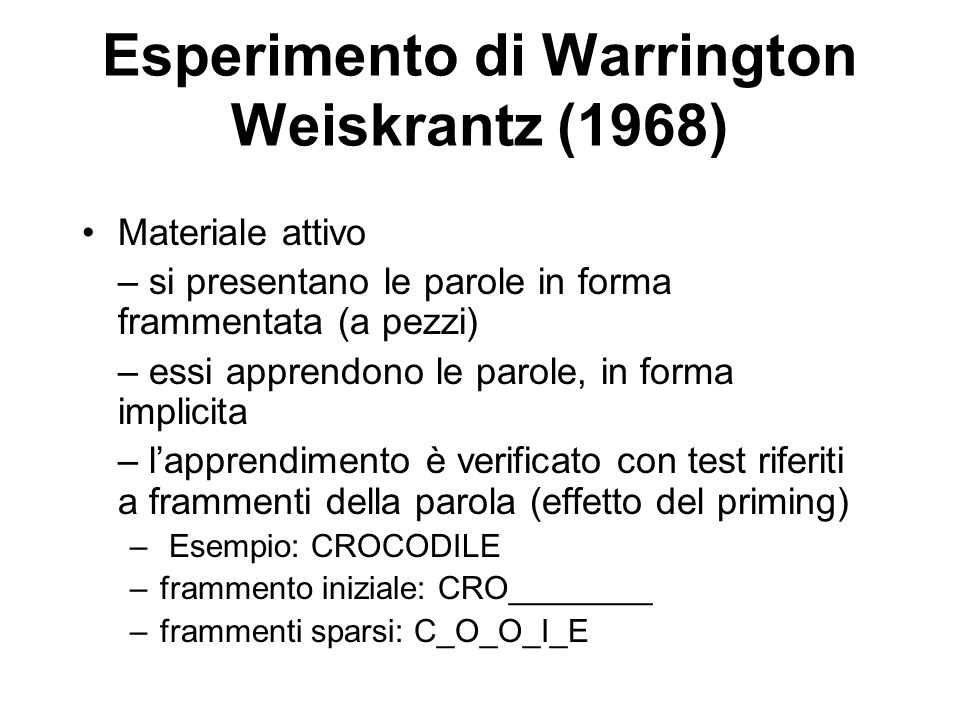 Esperimento di Warrington Weiskrantz (1968)