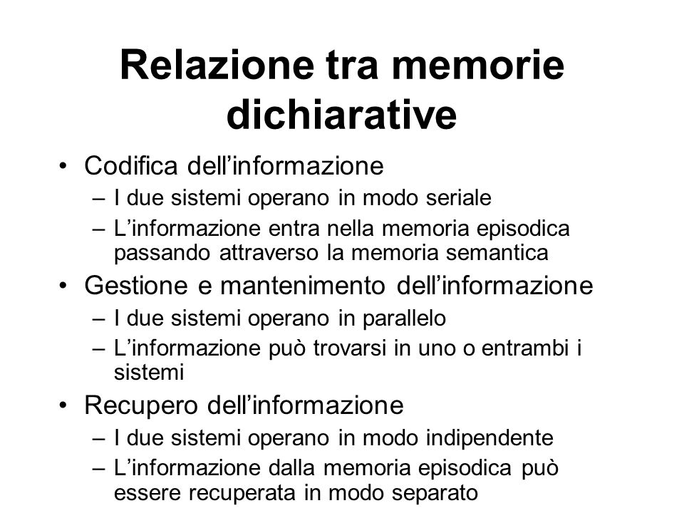 Relazione tra memorie dichiarative