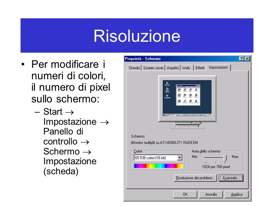 Risoluzione Per modificare i numeri di colori, il numero di pixel sullo schermo: