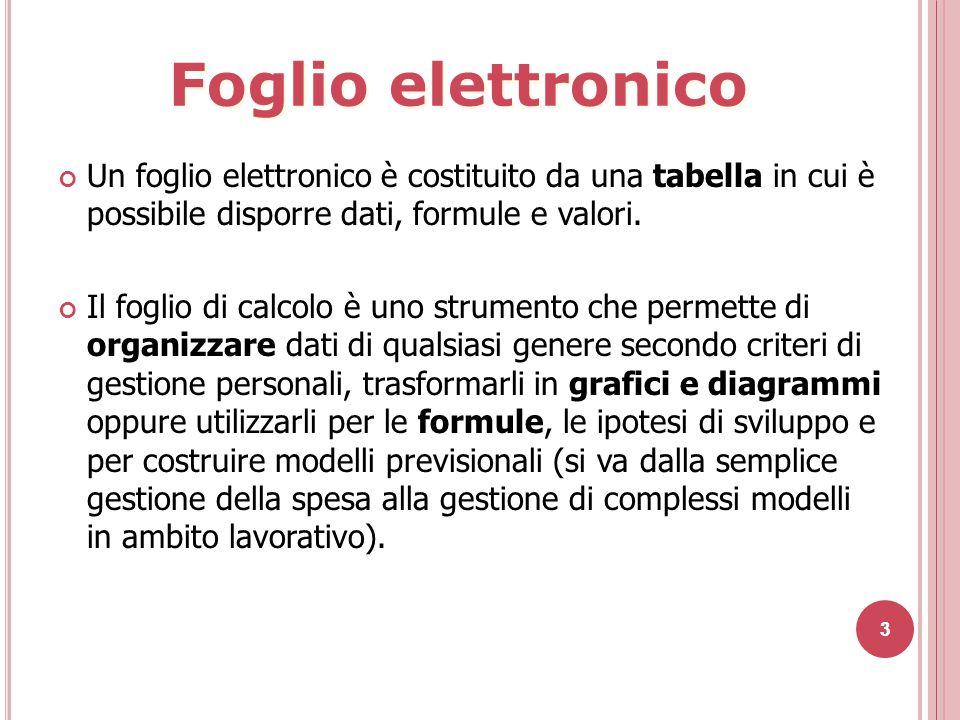 Foglio elettronico Un foglio elettronico è costituito da una tabella in cui è possibile disporre dati, formule e valori.