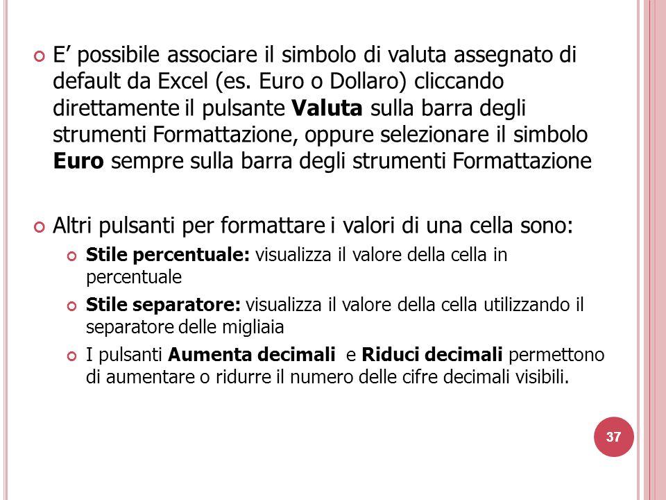 Altri pulsanti per formattare i valori di una cella sono: