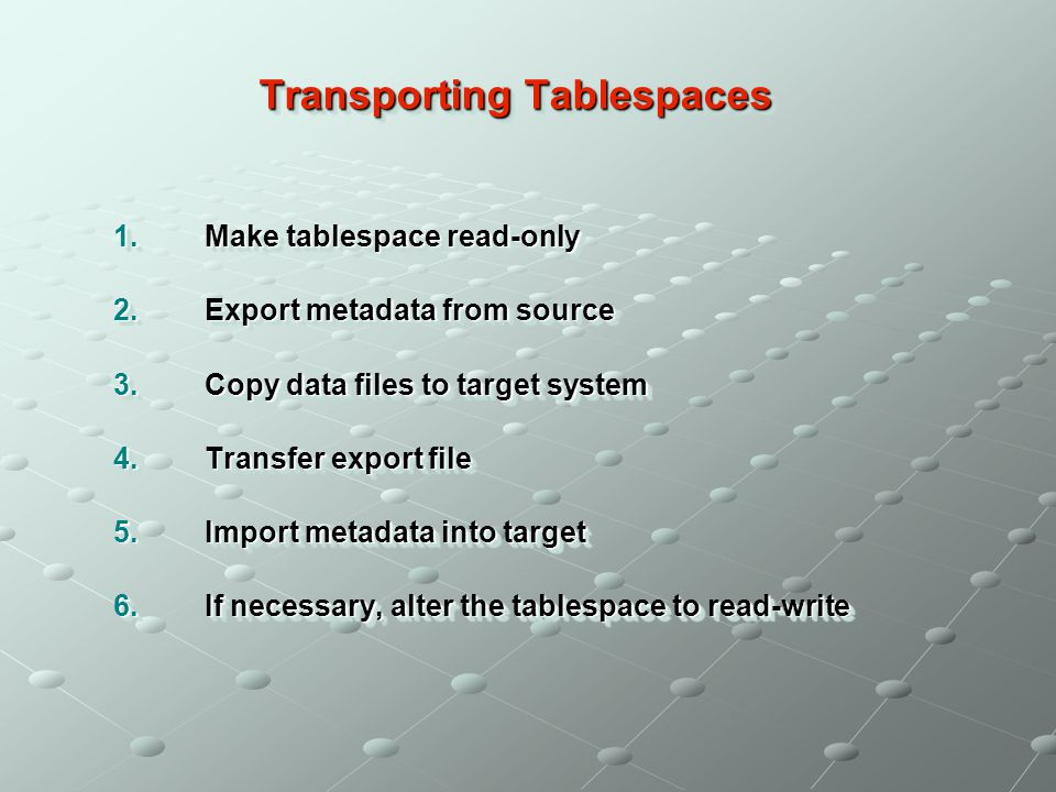 Transporting Tablespaces