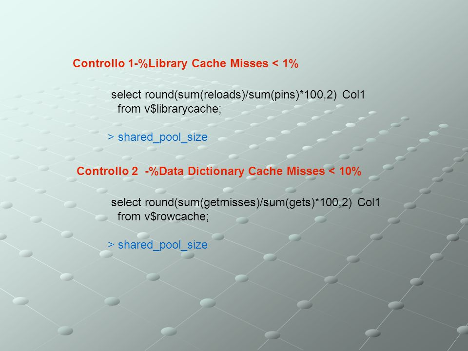 Controllo 1-%Library Cache Misses < 1%