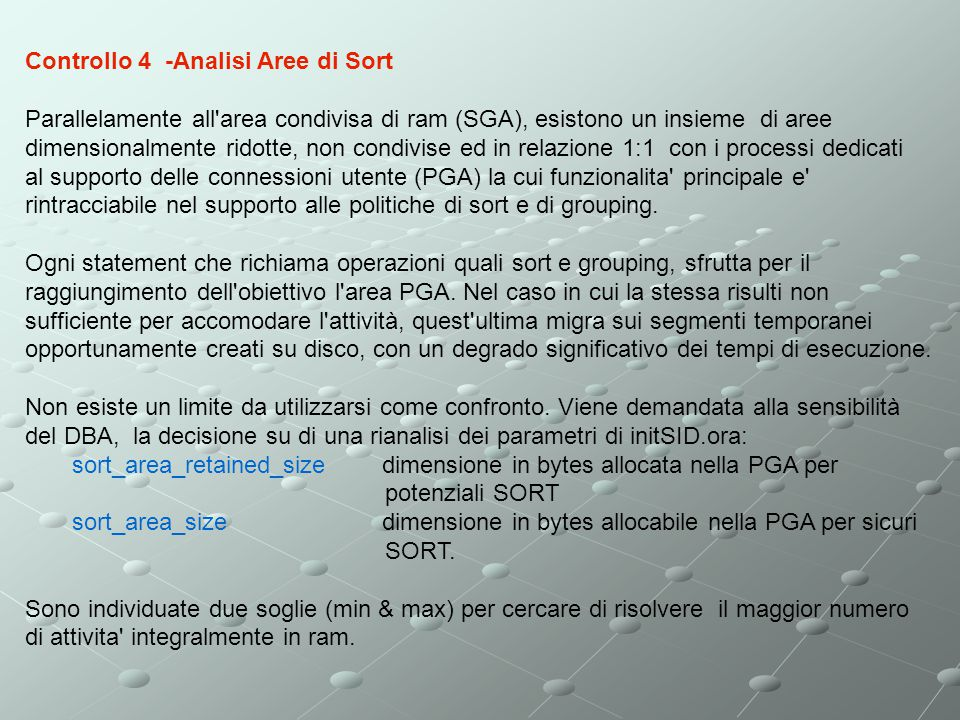 Controllo 4 -Analisi Aree di Sort
