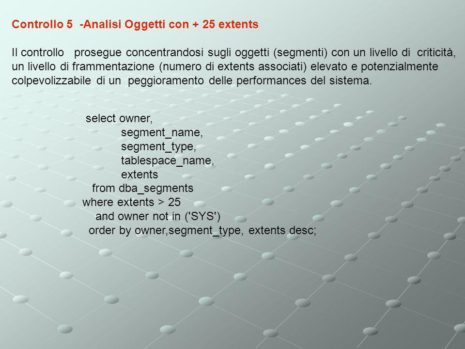 Controllo 5 -Analisi Oggetti con + 25 extents
