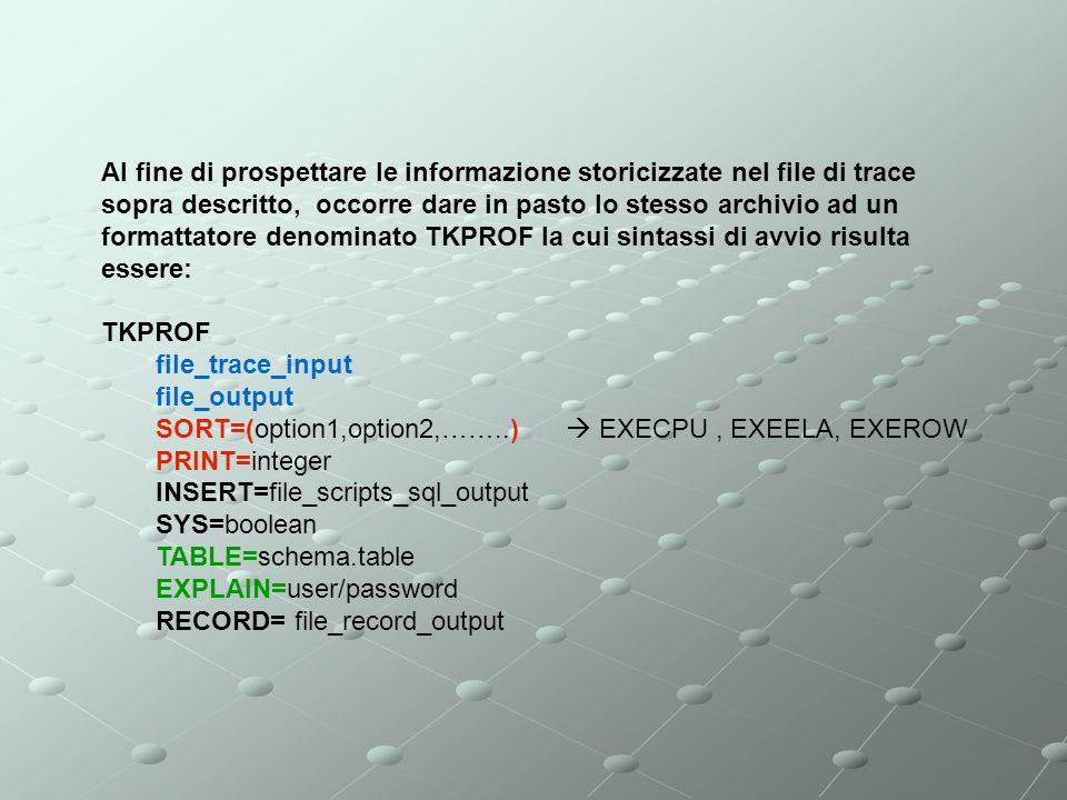 Al fine di prospettare le informazione storicizzate nel file di trace