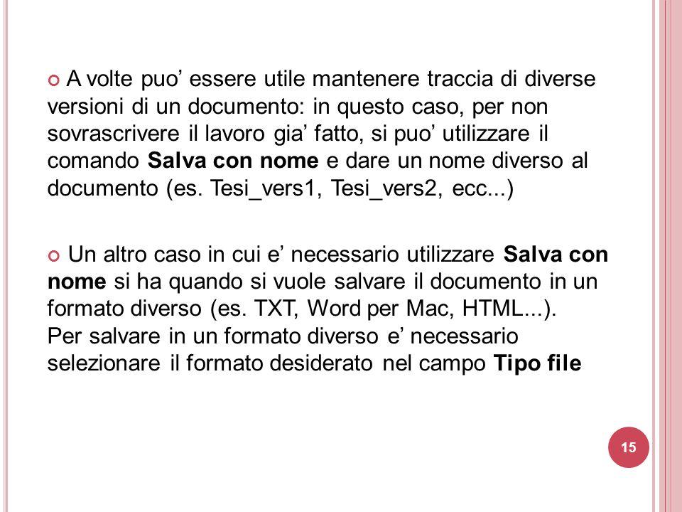 A volte puo' essere utile mantenere traccia di diverse versioni di un documento: in questo caso, per non sovrascrivere il lavoro gia' fatto, si puo' utilizzare il comando Salva con nome e dare un nome diverso al documento (es. Tesi_vers1, Tesi_vers2, ecc...)
