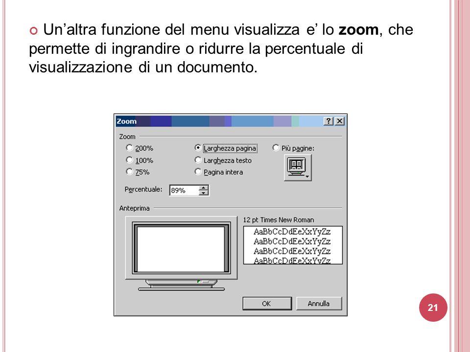 Un'altra funzione del menu visualizza e' lo zoom, che permette di ingrandire o ridurre la percentuale di visualizzazione di un documento.