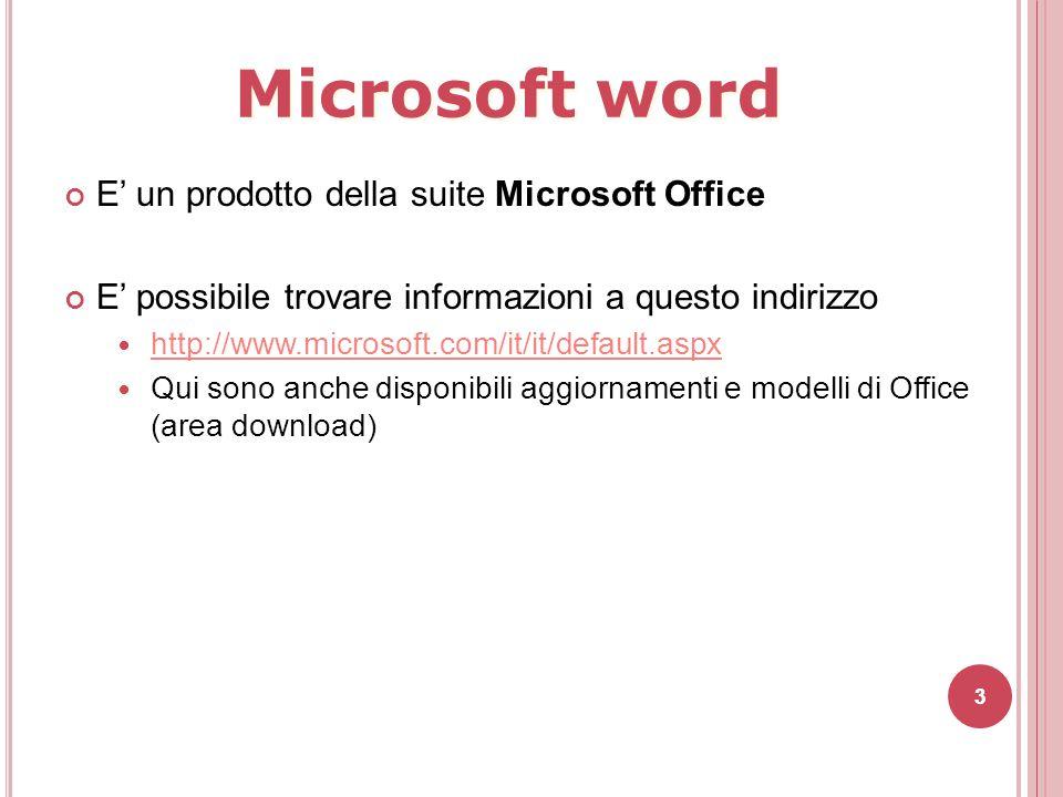 Microsoft word E' un prodotto della suite Microsoft Office