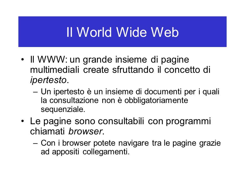 Il World Wide Web Il WWW: un grande insieme di pagine multimediali create sfruttando il concetto di ipertesto.