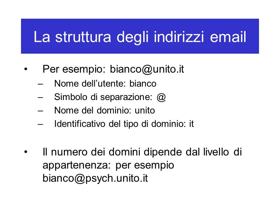 La struttura degli indirizzi email