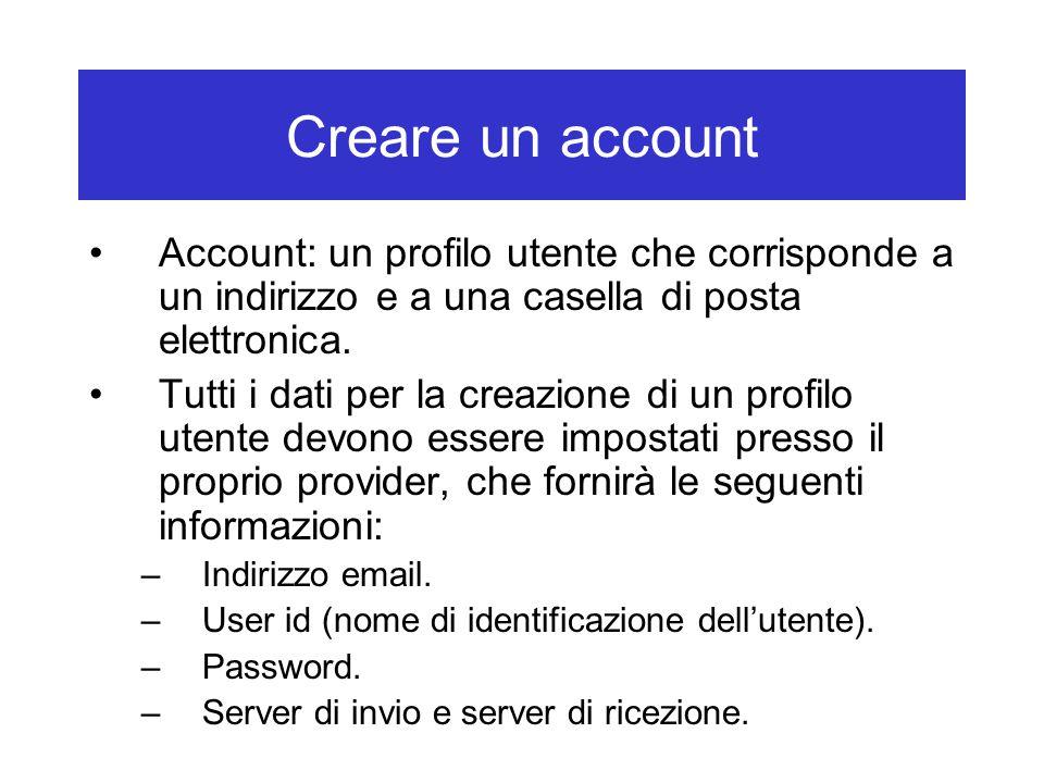 Creare un account Account: un profilo utente che corrisponde a un indirizzo e a una casella di posta elettronica.