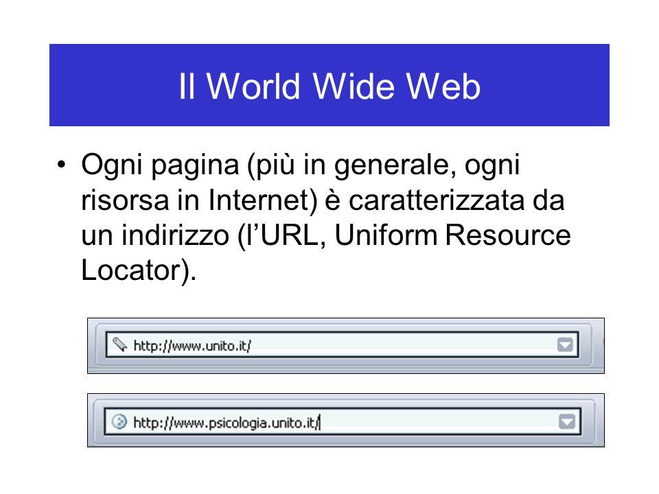 Il World Wide Web Ogni pagina (più in generale, ogni risorsa in Internet) è caratterizzata da un indirizzo (l'URL, Uniform Resource Locator).
