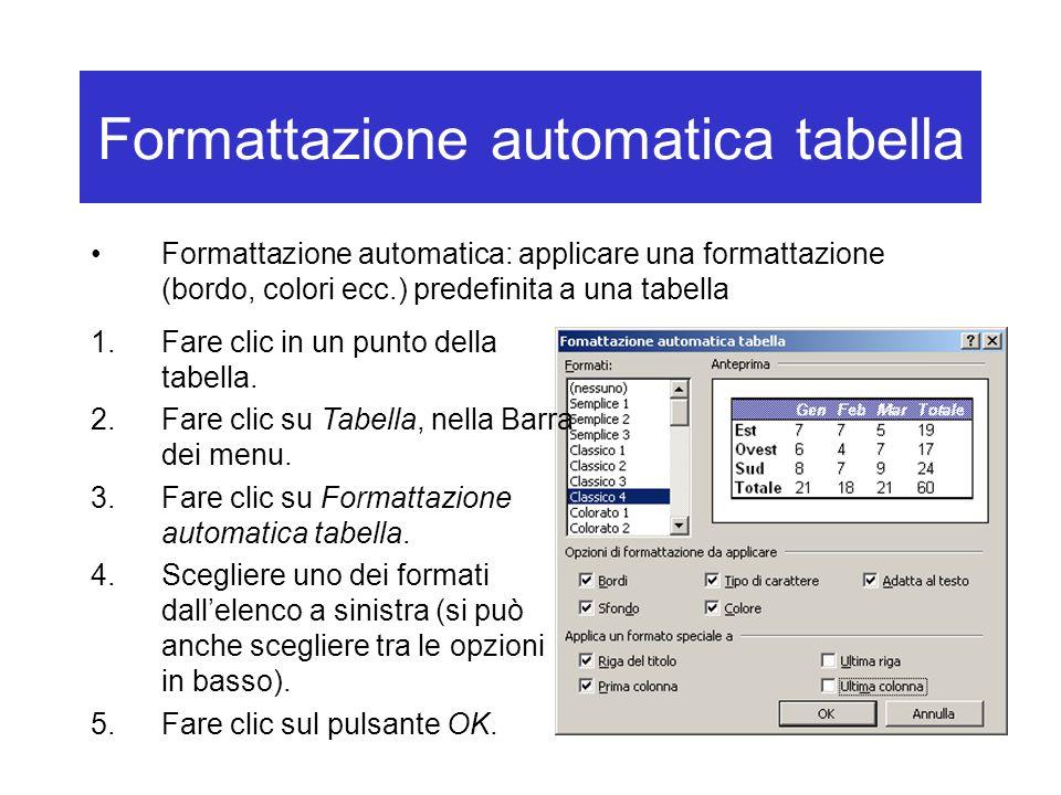 Formattazione automatica tabella
