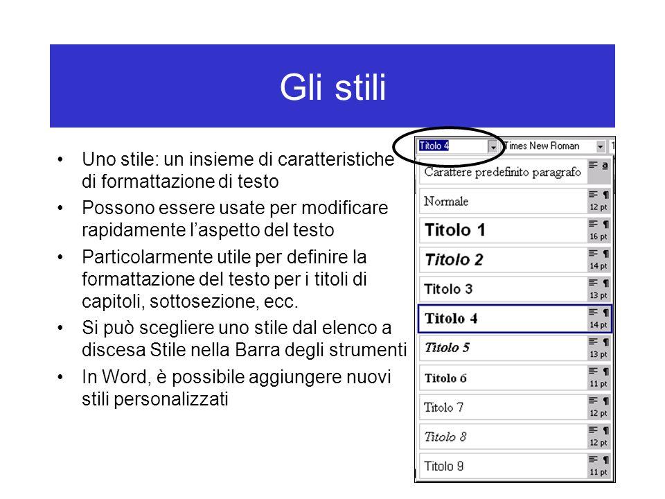 Gli stili Uno stile: un insieme di caratteristiche di formattazione di testo. Possono essere usate per modificare rapidamente l'aspetto del testo.