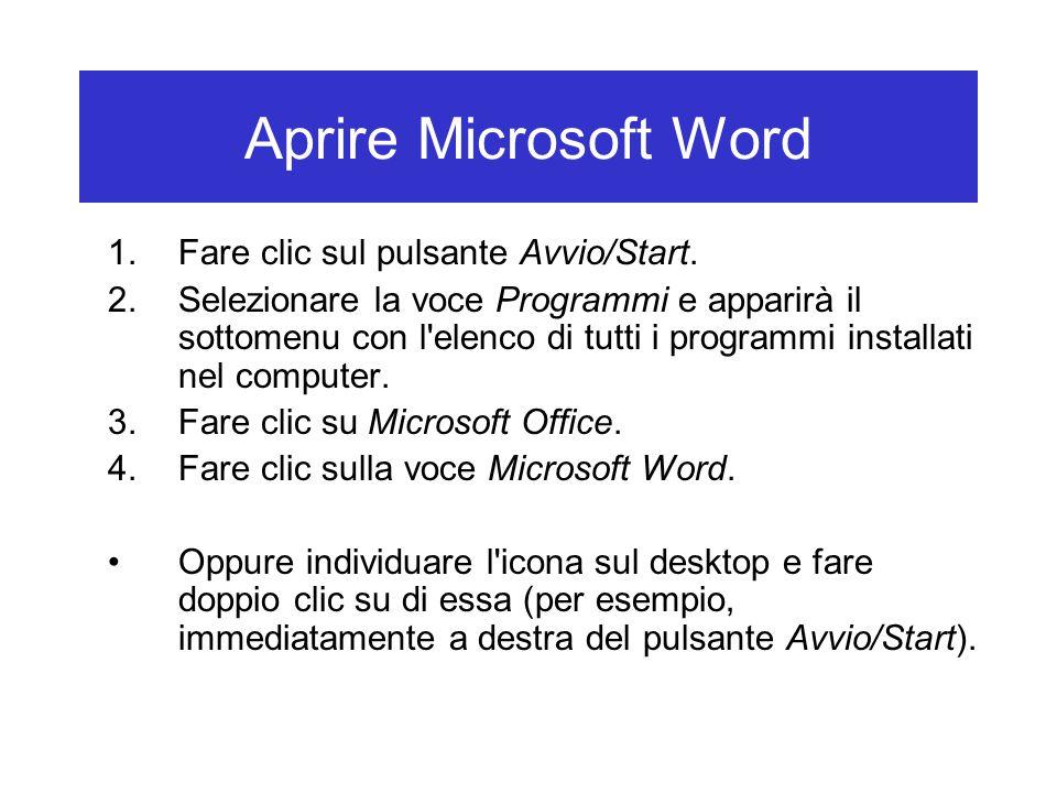 Aprire Microsoft Word Fare clic sul pulsante Avvio/Start.