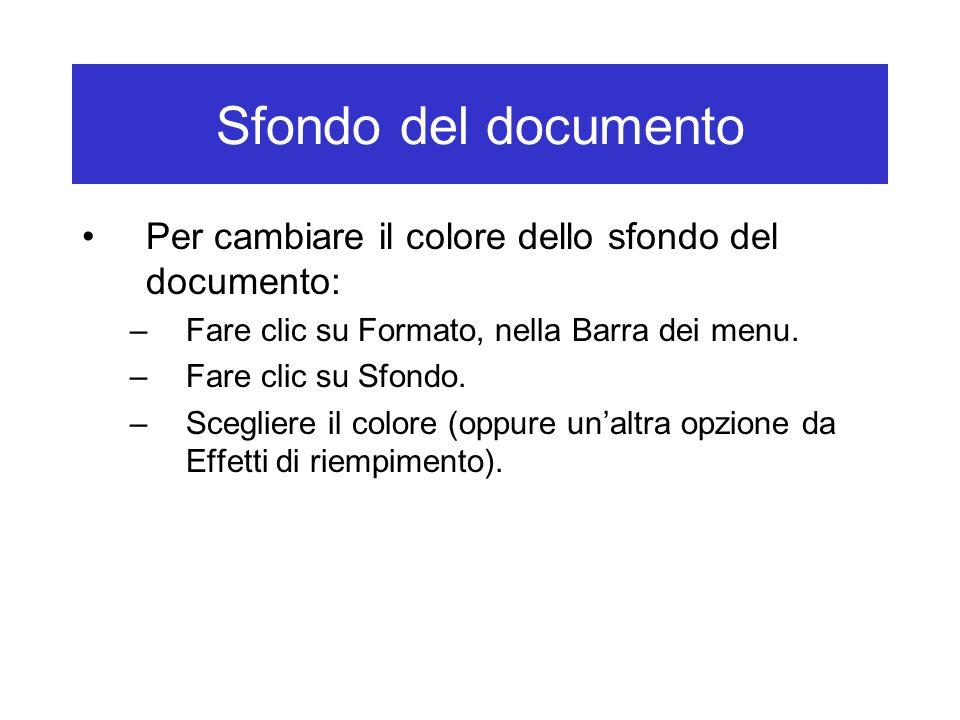 Sfondo del documento Per cambiare il colore dello sfondo del documento: Fare clic su Formato, nella Barra dei menu.
