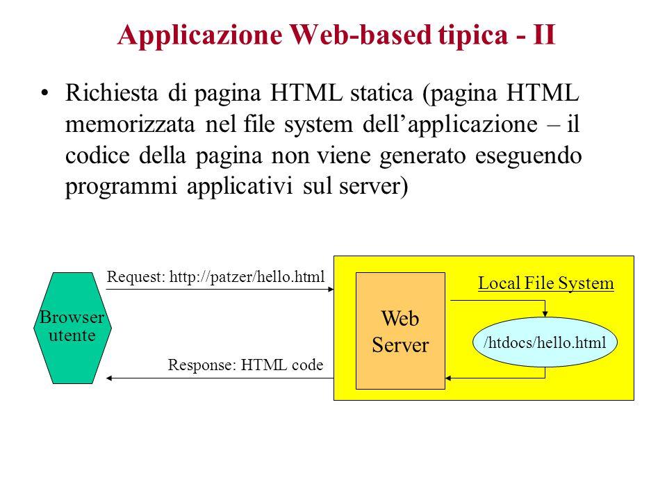 Applicazione Web-based tipica - II