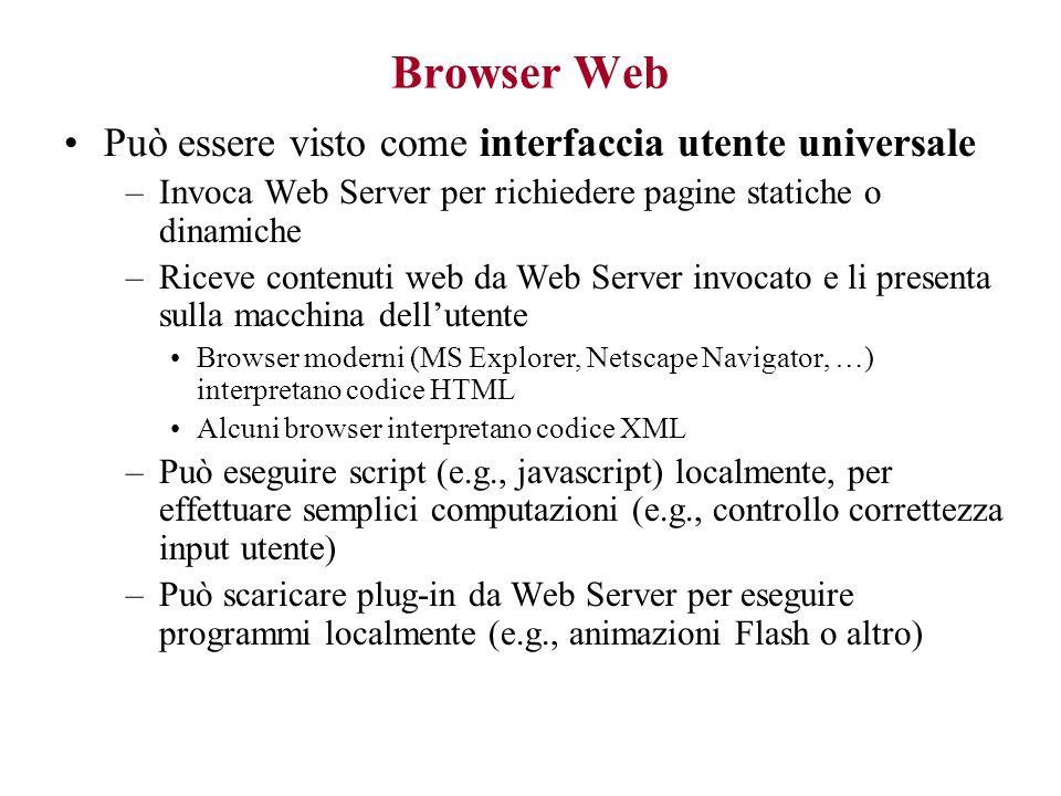 Browser Web Può essere visto come interfaccia utente universale