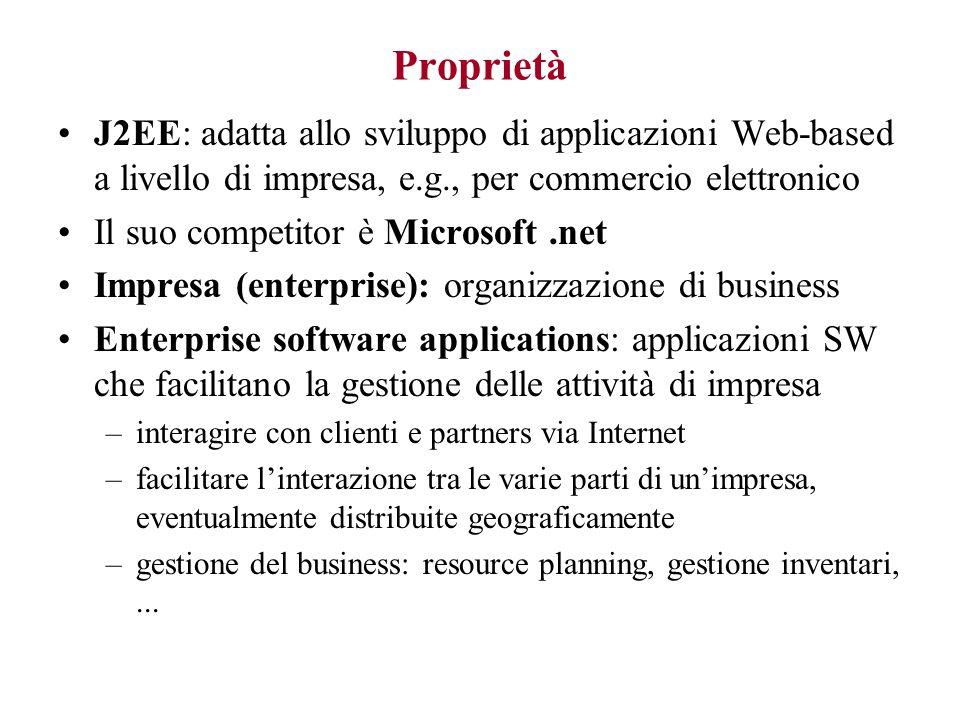 Proprietà J2EE: adatta allo sviluppo di applicazioni Web-based a livello di impresa, e.g., per commercio elettronico.
