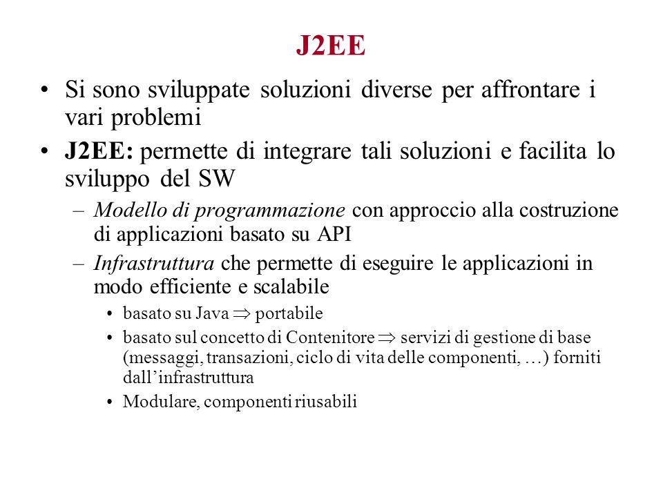 J2EE Si sono sviluppate soluzioni diverse per affrontare i vari problemi. J2EE: permette di integrare tali soluzioni e facilita lo sviluppo del SW.