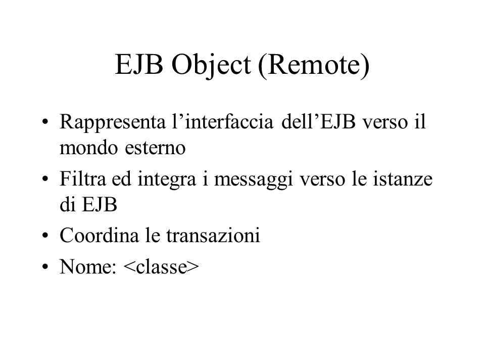 EJB Object (Remote) Rappresenta l'interfaccia dell'EJB verso il mondo esterno. Filtra ed integra i messaggi verso le istanze di EJB.