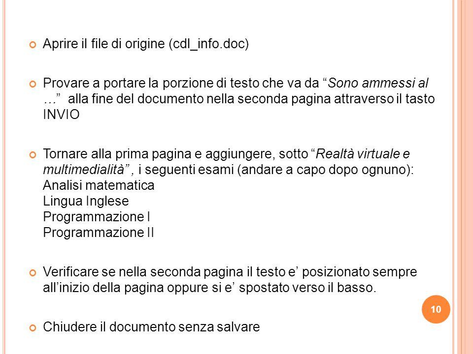 Aprire il file di origine (cdl_info.doc)