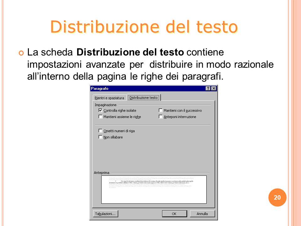 Distribuzione del testo