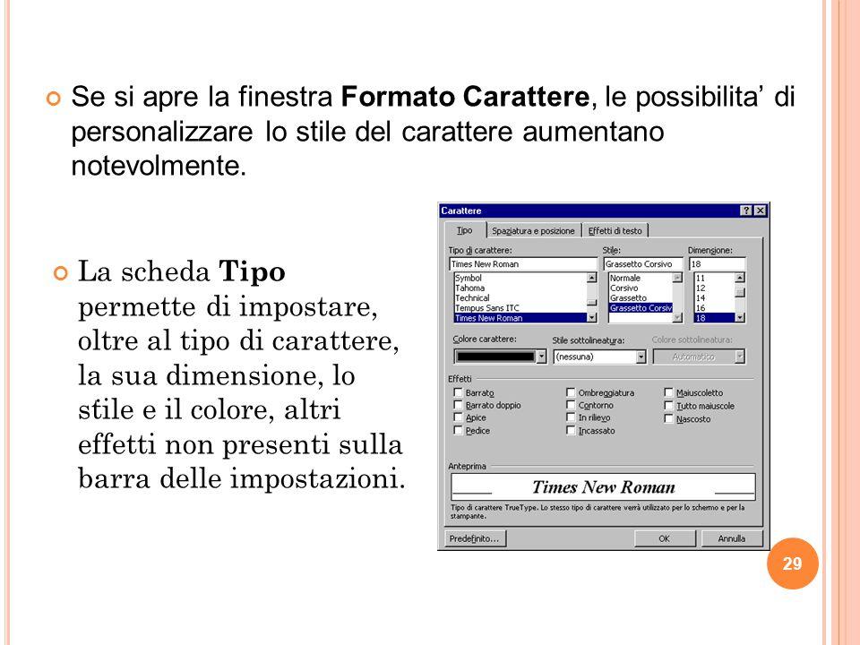 Se si apre la finestra Formato Carattere, le possibilita' di personalizzare lo stile del carattere aumentano notevolmente.