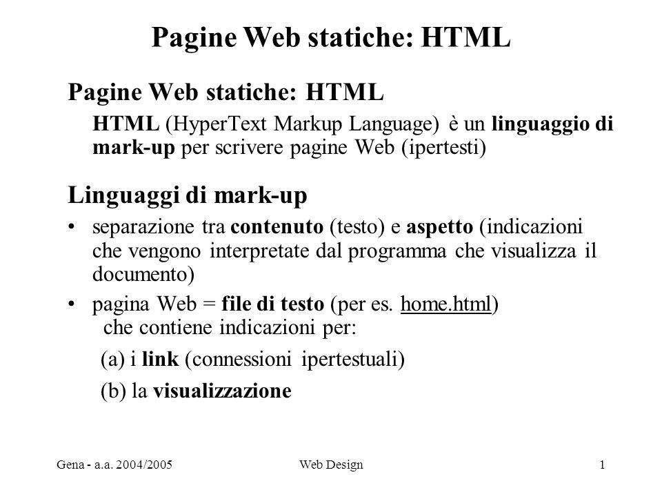Pagine Web statiche: HTML