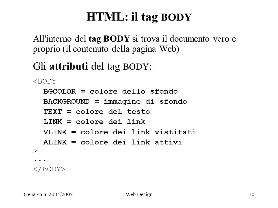 HTML: il tag BODY Gli attributi del tag BODY: