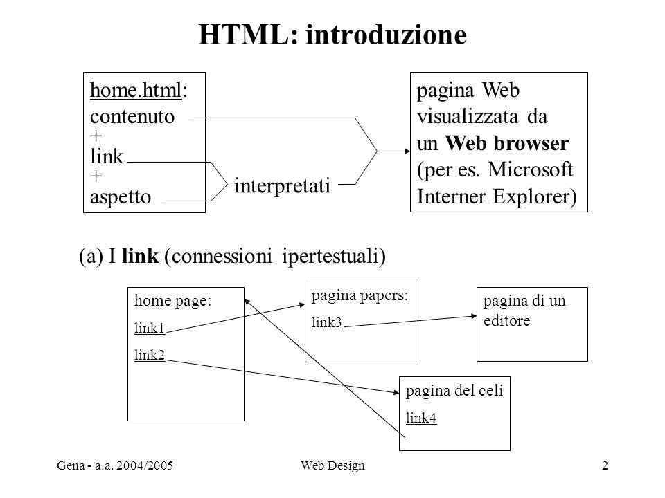 HTML: introduzione home.html: contenuto + link aspetto