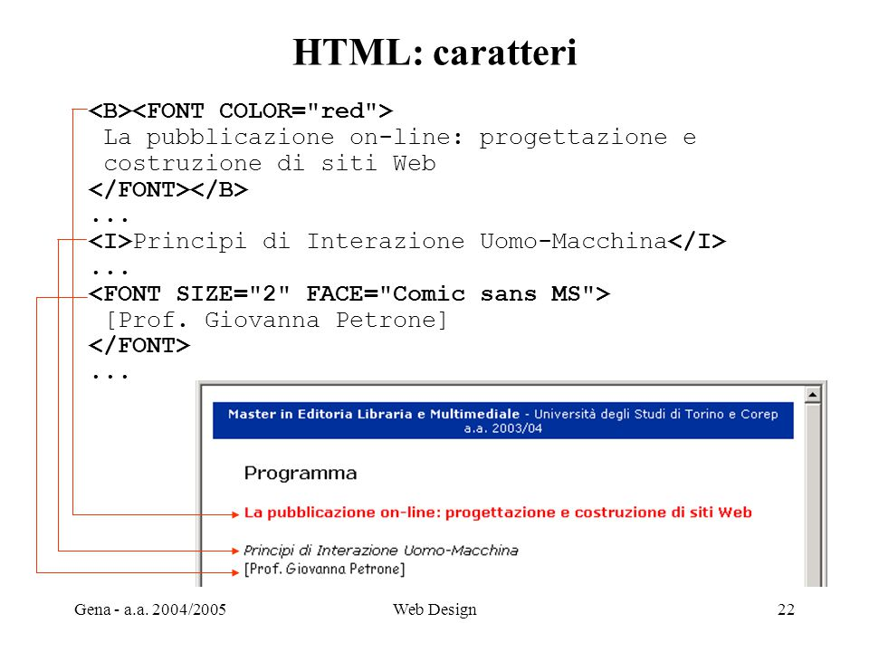 HTML: caratteri <B><FONT COLOR= red >