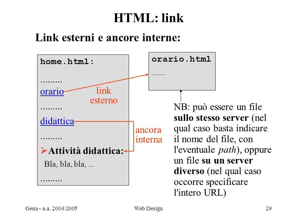 HTML: link Link esterni e ancore interne: ......... orario didattica