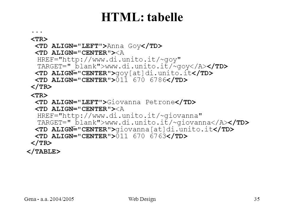 HTML: tabelle ... <TR>