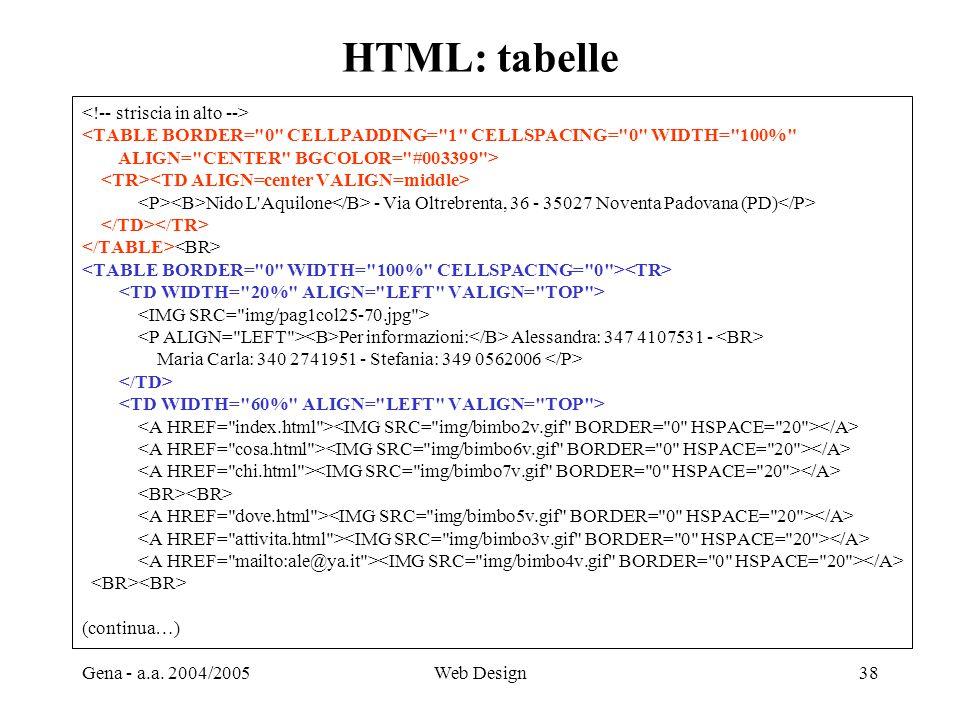 HTML: tabelle <!-- striscia in alto -->